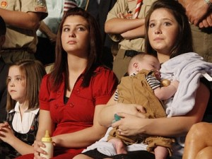 Bristol Palin holding baby brother Trig at the Republican National Convention. Photo from huffingtonpost.com